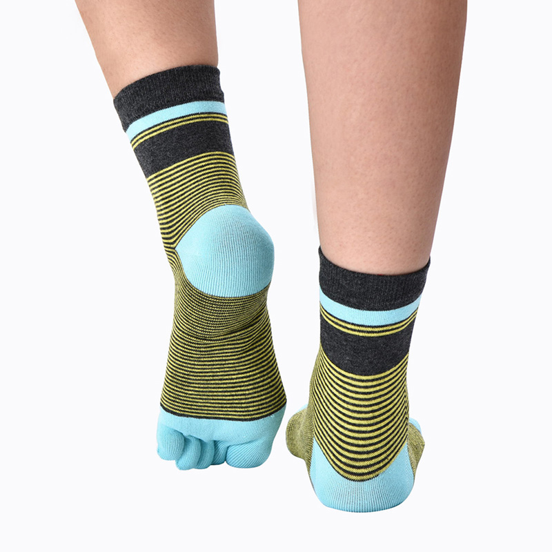 5Pairs Fashion Brand Men Toe Socks Striped Colorful Funny Socks Cotton For Male Business Breathable Crew Five Finger Toe Socks