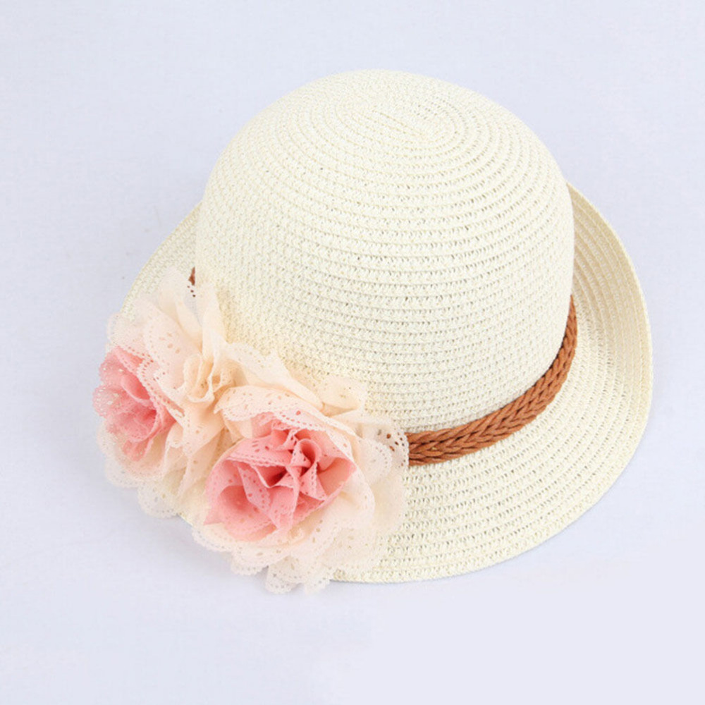 9160a142 Hat 2016 Spring summer Children flower dome straw hat baby girls Beach Hats  kids sun hat Ladies Beach Cap for 2 7 years-in Hats & Caps from Mother &  Kids on ...