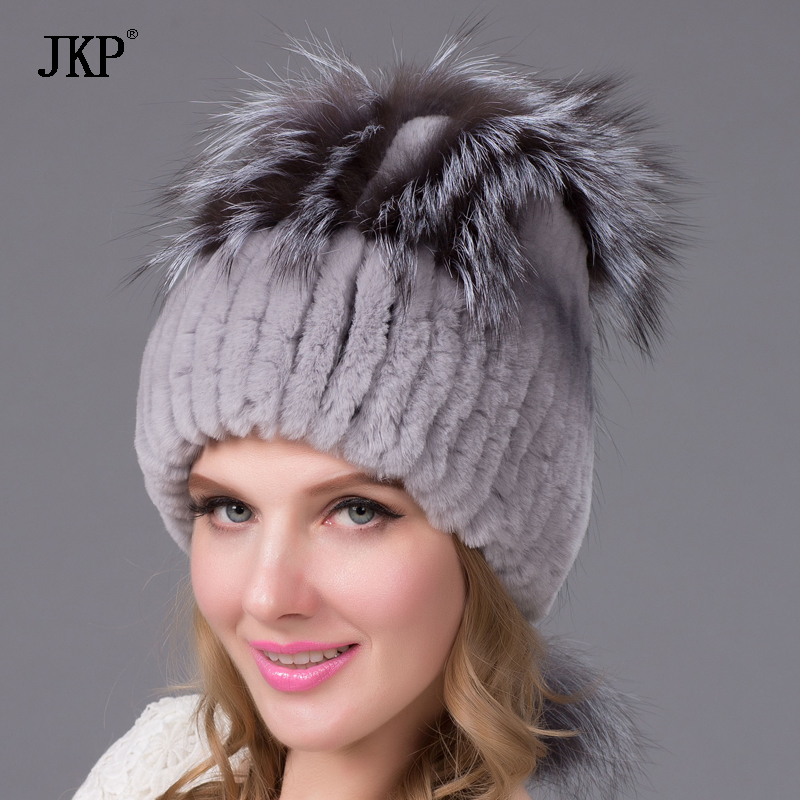 Autumn and winter hat ear warm hat Ms. Rex hair thicker knit hat rabbit fox fur hatTHY-18