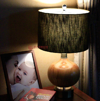 Bedroom lamp bedside lamp lights exit Continental hotel project antique wood table lamp metal ball