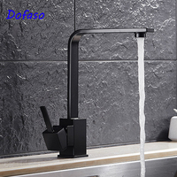 Dofaso Black Kitchen Faucet Cold And Hot Water Bathroom Dual Sink Square Basin Faucet Luxury Deck
