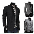 New 2015 Autumn Male Stand Collar Blazer Asymmetrical Male Personality Blazer Outerwear