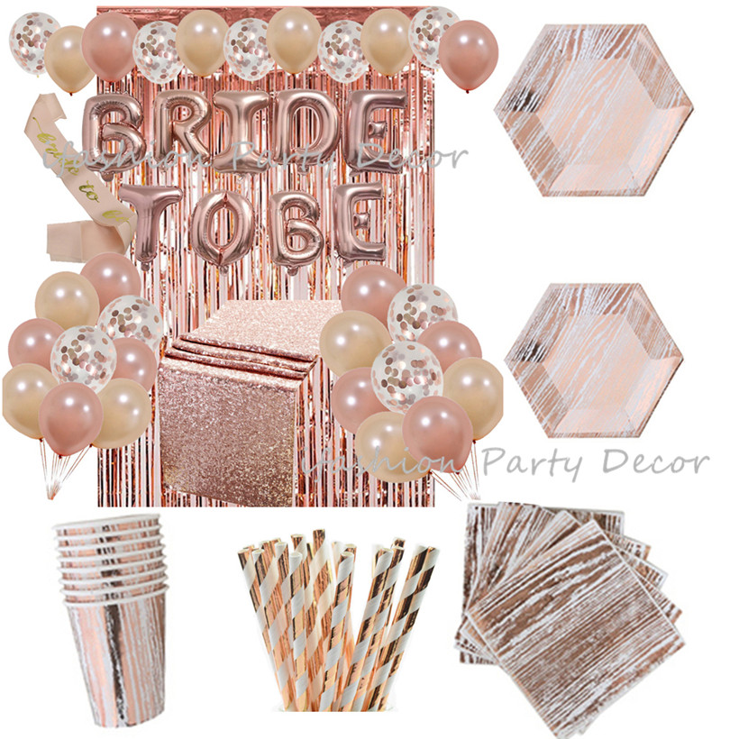 Rose Gold Party Napkins Paper Plate Tablecloth Bride To be Balloon Wedding Birthday Bridal Shower Party Tableware Decoration Set