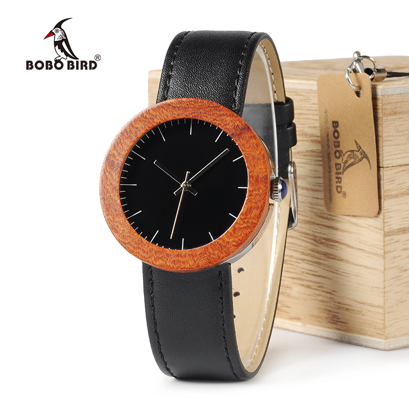 BOBO BIRD WJ01 Waterproof Wooden Watches for Women Gift Red Wood Watch Fashion Quartz Wristwatches Black Leather Strap as Gift bobo bird l b08 bamboo wooden watches for men women casual wood dial face 2035 quartz watch silicone strap extra band as gift
