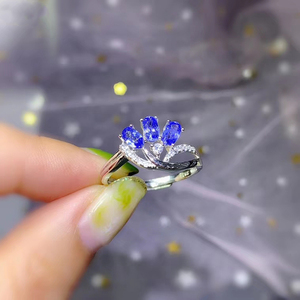 Image 2 - CoLife Jewelry Elegant Tanzanite Ring for Office Woman 3 Pieces 3*5mm Natural Tanzanite Silver Ring 925 Silver Tanzanite Jewelry