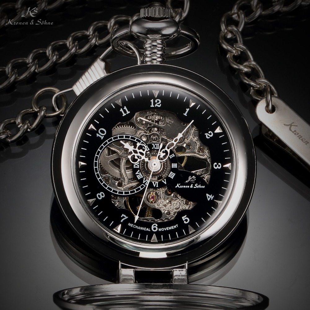 ks luxury black skeleton self stand case analog hand wind mechanical