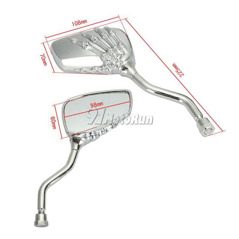Image 2 - 1 Pair Motorcycle Skull Hand Rearveiw Mirrors For Honda Suzuki  Kawasaki KTM/Shadow Spirit VT750 VT1100  VL 700 750 800 1400 1500Side  Mirrors