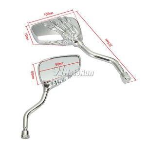 Image 2 - 1 paar Motorrad Schädel Hand Rearveiw Spiegel Für Honda Suzuki Kawasaki KTM/Schatten Geist VT750 VT1100 VL 700 750 800 1400 1500