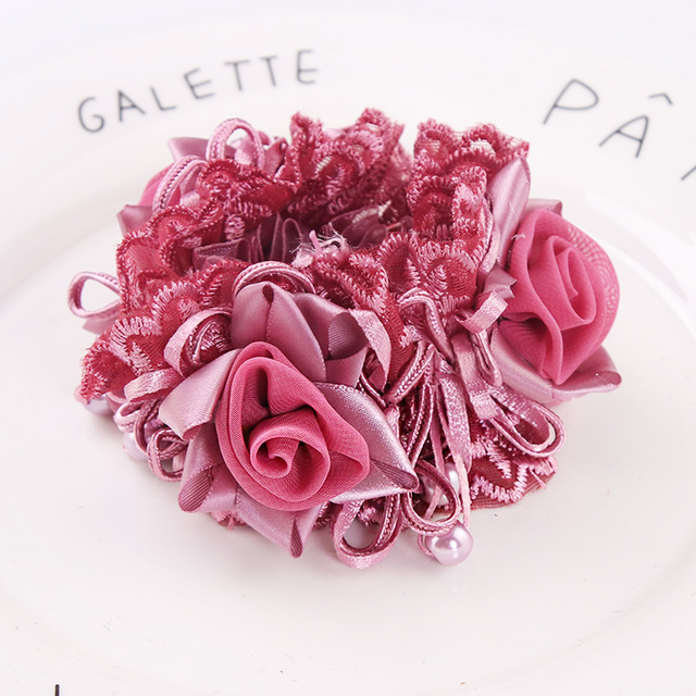 New Arrival Women Luxury Flower Lace Ribbon Elegant Elastic Hair Bands Good Quality Ponytail Holder Hair Ropes Hair Accessories