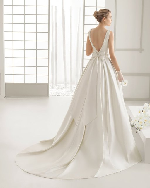 Beauty-Emily Ivory Stain Wedding Dresses Beads Bow Floor-Lenth Court Train O-Neck Backless Bridal Gown Party  Dresses