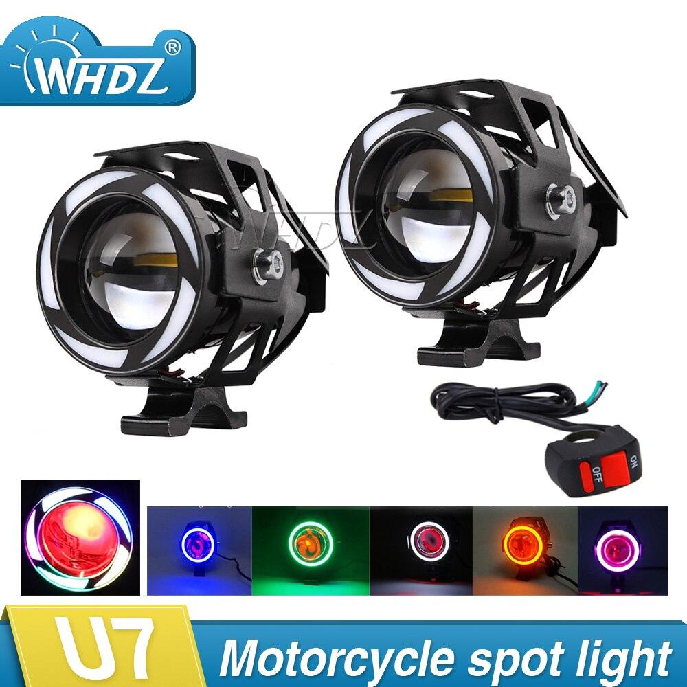 2pcs 12V 15W Motorcycle U7 LED Headlight 3000LM led Spot Light Lamp Angle Devil Eyes Moto Spotlight