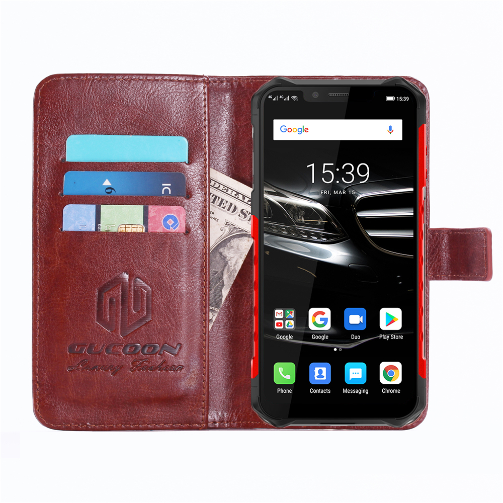 GUCOON Classic Wallet Case for Ulefone Armor 6 6E Cover PU Leather Vintage Flip Cases Fashion Phone Bag Shield 3