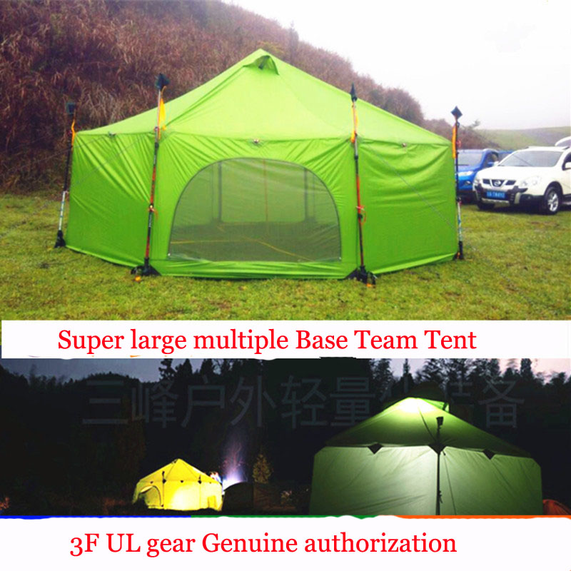 3F UL Gear 1.95kg 30D Silicon 8-12 Person Faimly Party Base Outdoor Large Camping Ultralight Backpacking Teepee Tent  4 season professional camping gear 2 people outdoor 4 reason camping tent hiking climbing backpacking mountaineering tourism ultralight