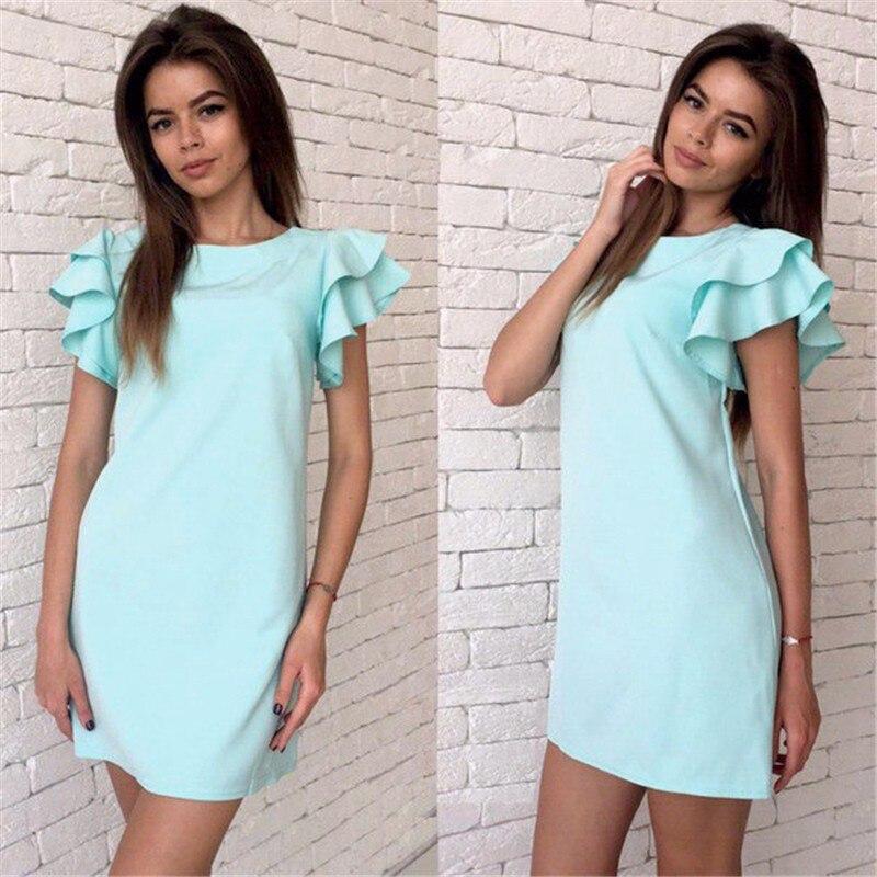 Для женщин Сексуальная спинки с рукавом-бабочкой платье Vestidos новинка 2018 г.; летние пляжные Повседневное прямые красный цвет небесно-синий платья мини Большие размеры