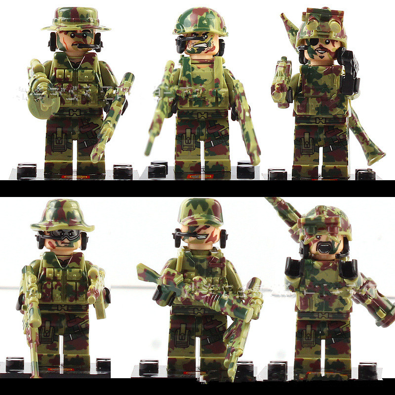 6pcs Legoingly Wars Military Falcon Commandos Wwii Army Soldiers Marine Corps Kids Bricks Building Blocks Toy For Kids Gift Latest Technology Toys & Hobbies