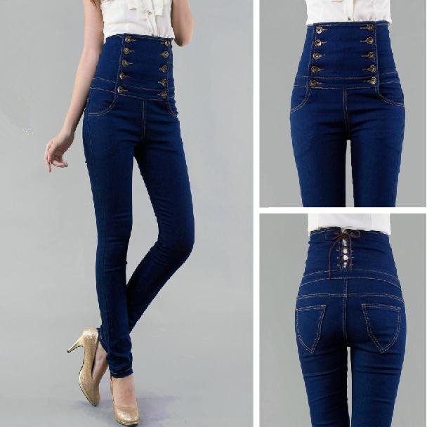 ФОТО Europe and America New 2016 Double-breasted Skinny High Waist Jeans Women Pencil Pants free Shipping