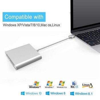 Portable Aluminum USB 3.0 Card Reader 3-Slot Flash Memory Card Reader for CF/SD/TF Micro SD/MD/MMC/SDHC/SDXC Flash Cards