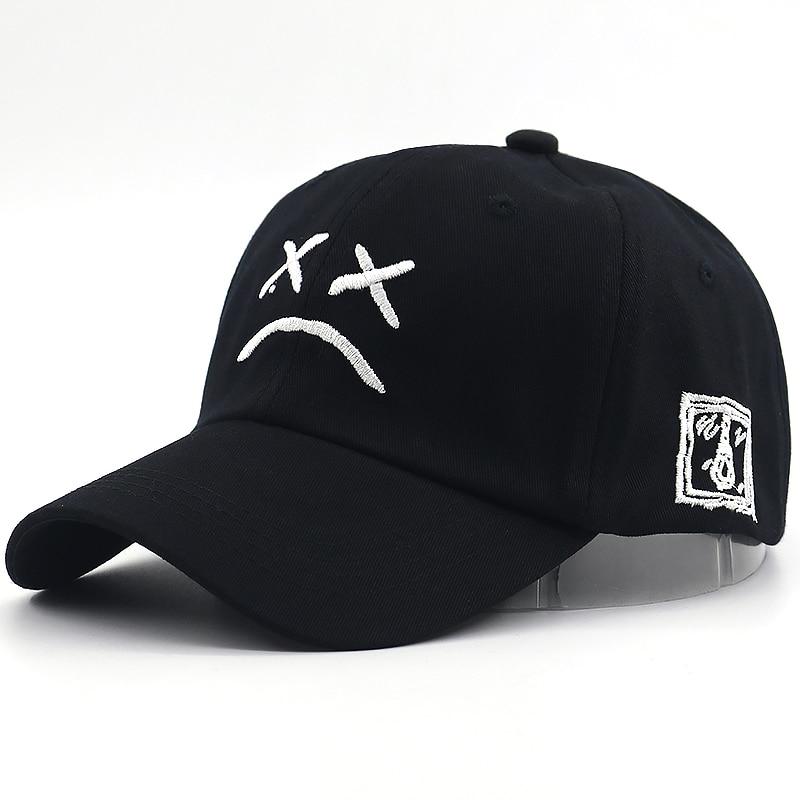 Spring-Caps Snapback-Hats Baseball-Cap Embroidery Sad Face Adjustable Cotton Fashion