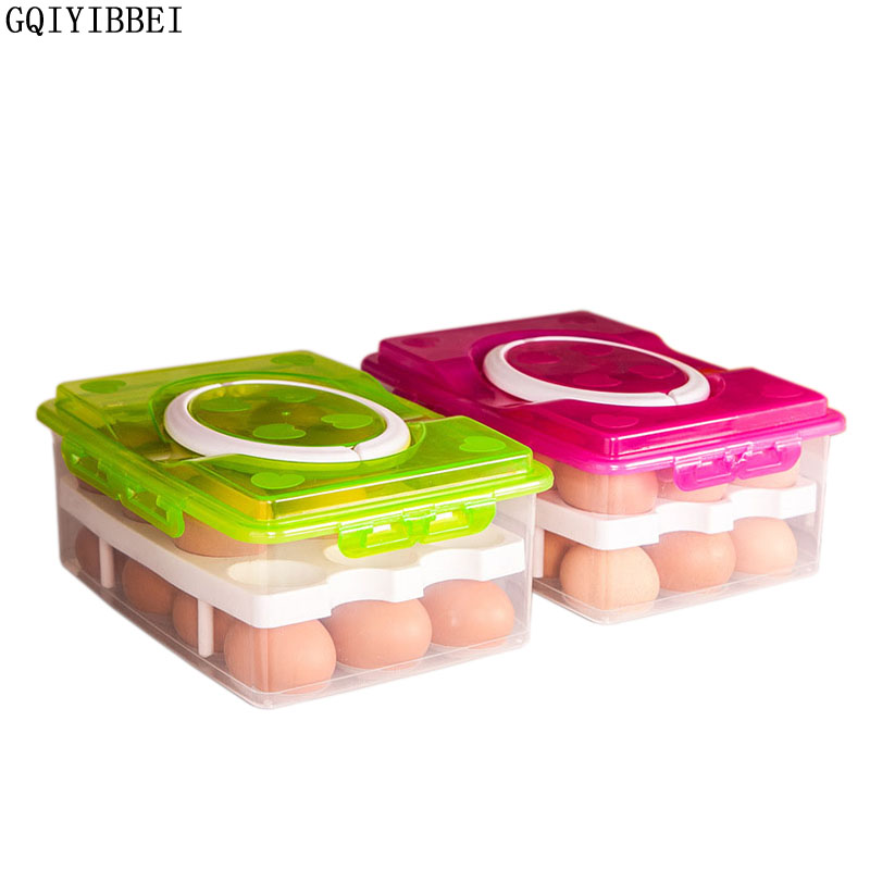 GQIYIBBEI 24 Grid Egg Box Food Container Organizer Convenient Storage Boxs Double Layer Multifunctional Crisper Kitchen Products