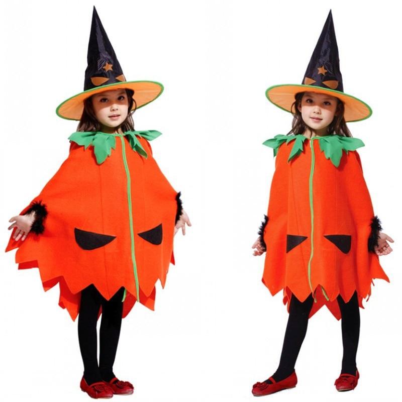 Kids Girls Pumpkin Costume Cloak for Halloween Carnival Masquerade Fancy Dress Fantasia Infantil Children Cosplay Clothes