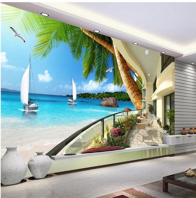 spedizione gratuita moderna parete murales 3d carta da parati hd balcone con vista mare 3d. Black Bedroom Furniture Sets. Home Design Ideas