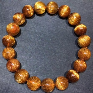 Image 5 - 10.5mm Genuine Natural Copper Rutilated Quartz Crystal Bracelet Gemstone For Woman Lady Gift Round Beads Bracelets AAAAA