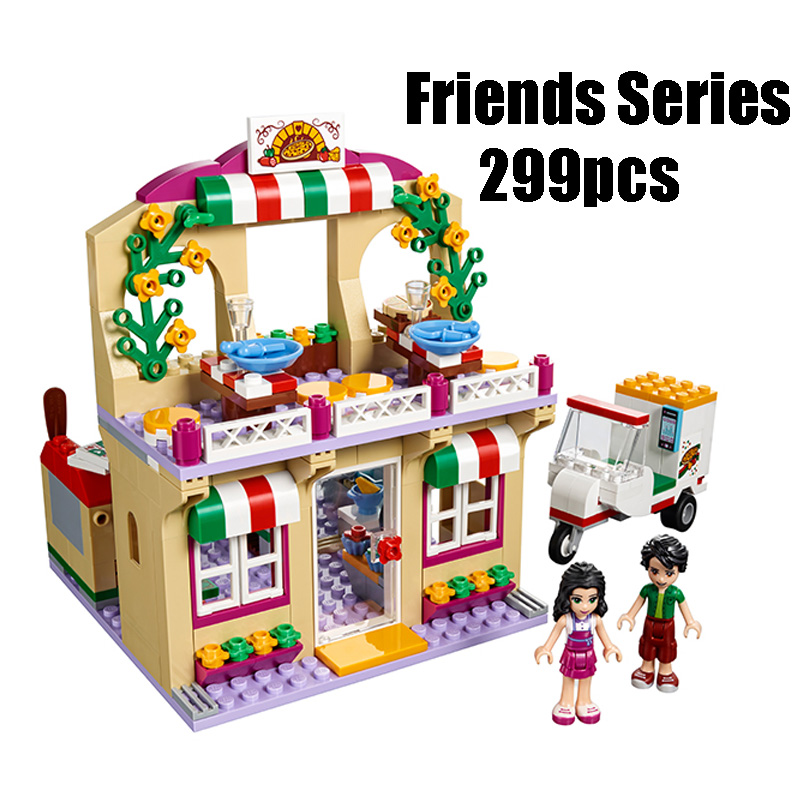 Compatible with Lego Friends 41311 Lepin 01011 299pcs building blocks Restaurant Series Pizza Bricks figure toys for children lepin 02012 city deepwater exploration vessel 60095 building blocks policeman toys children compatible with lego gift kid sets