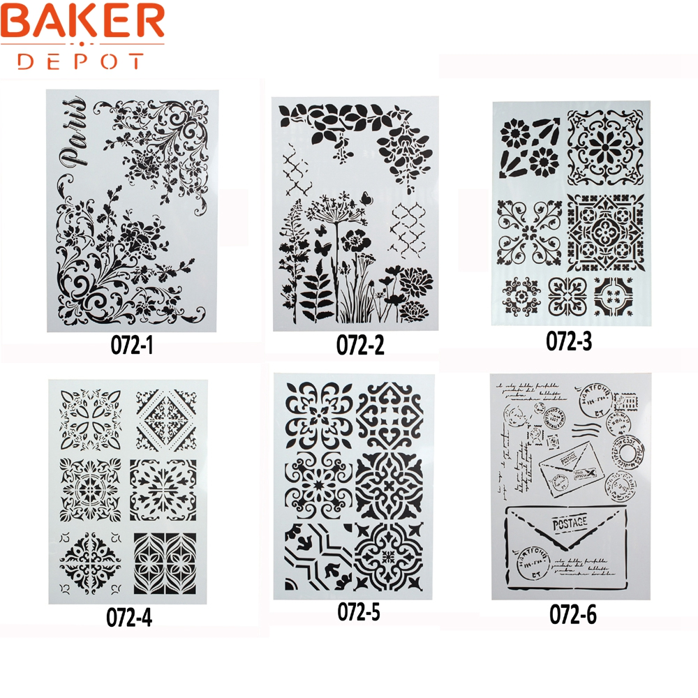 Baking & Pastry Tools Baker Depot Children Creative Graphic Alphabet And Number Drawing Stencil Diy Paint Mold Cake Decorating Tool 29.5*21cm Set Of 6