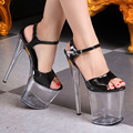 Nightclub Sexy Platform Shoes Woman Summer Transparent Crystal Women Pumps Big Size Women's Sandals 20CM Buckle Strap High Heels