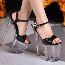 Nightclub Sexy Platform Shoes Woman Summer Transparent Crystal Women Pumps Big Size Women's Sandals 20CM Buckle Strap High Heels