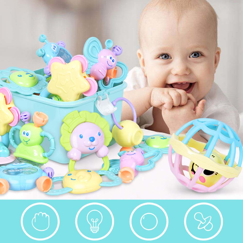 Kids Teething Toys Set Educational Crib Baby Teether Toy Bell Rattle Toy Storage Box Early Education Puzzle Teether Toy