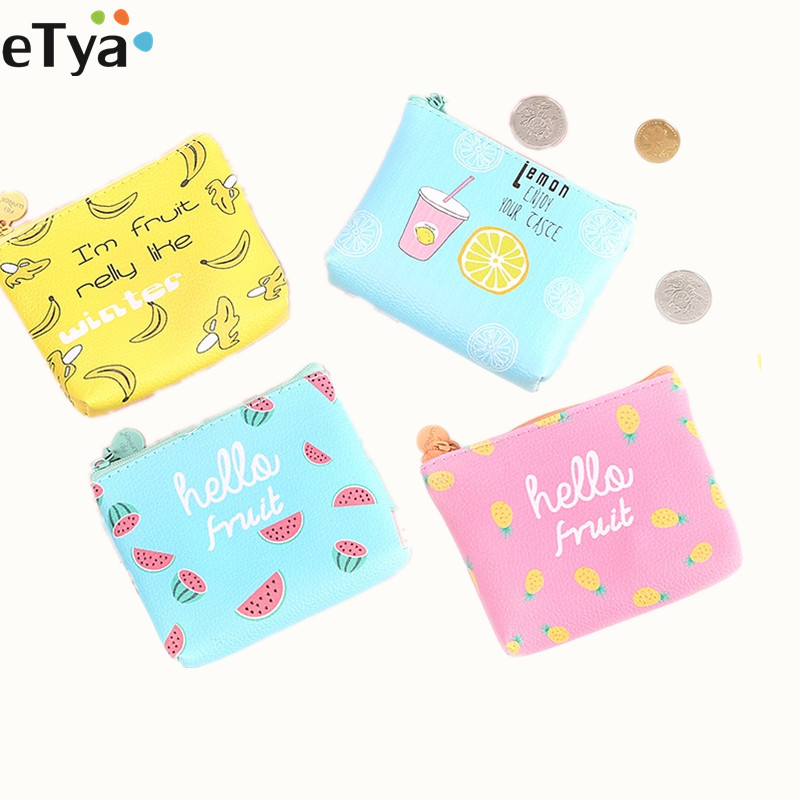 Cartoon Cute Women's Small Purse Coin Wallet Girls Bag Female Pu Leather Banana Key Money Card Holder Case Pouch 2017creative cute cartoon coin purse key chain for girls pu leather icecream cake popcorn kids zipper change wallet card holder