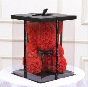 Image 4 - 12 inches 40cm Cake Box Rose Bear Box Transparent Empty Gift Box for Teddy Bear Flower Bear Rabbit Gift Box
