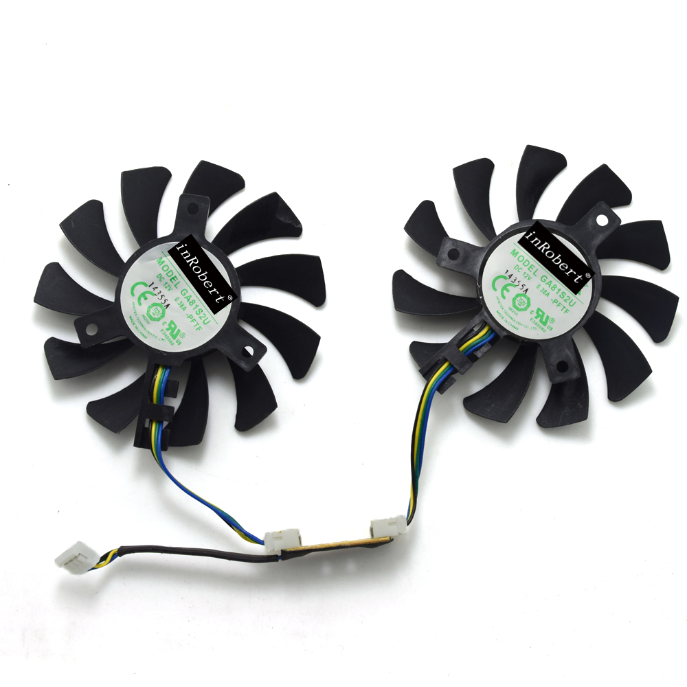 inRobert 75mm GA81S2U DC 12V 0.38A 4Pin Cooler Fan Video Card Fan Replacement for Zotac GTX 970 Dual Fan Graphic Card Original Fan