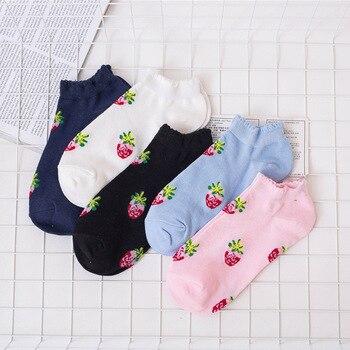 2018 Cotton Cute Fruit Print Women's Socks Meias Retro Colorful Funny Socks Women Girls Multicolor  Sock Calcetines Sox Women Socks