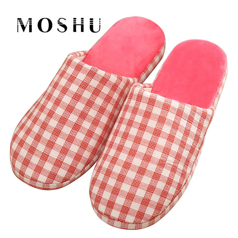 Winter Japanese Home Cotton Slippers Fashion Couple Wooden Floor Anti-Slip Slippers Plush Indoor Bedroom Flats Shoes For Woman millffy japanese summer ladies flats cotton bow home slippers indoor slippers