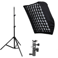 Photography Studio Softbox kits 80*120CM/32x48 Umbrella Softbox Diffuser Reflector+Gird+200CM Light Stand+Flash Shoe Holder