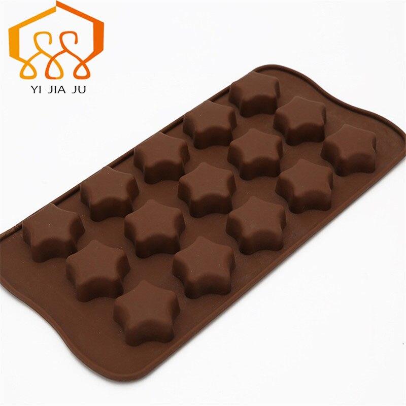 Bezmaksas piegāde Kūkas rīki Virtuve Bakeware roku darbs DIY 15-caurumu piecu vērstu zvaigzne silikona šokolādes pelējuma kūka apdare