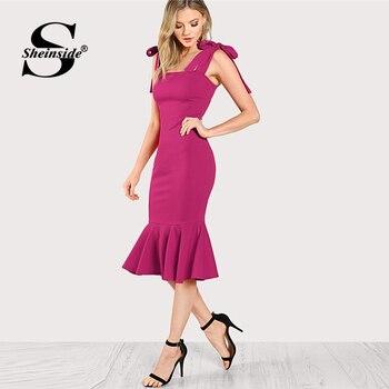 c16cd72cd67 Sheinside яркие ярко-розовые ремни Bodycon Вечерние Платья офисные женские  простые элегантные без рукавов гофрированные подол рыбий хвост Penci женс.