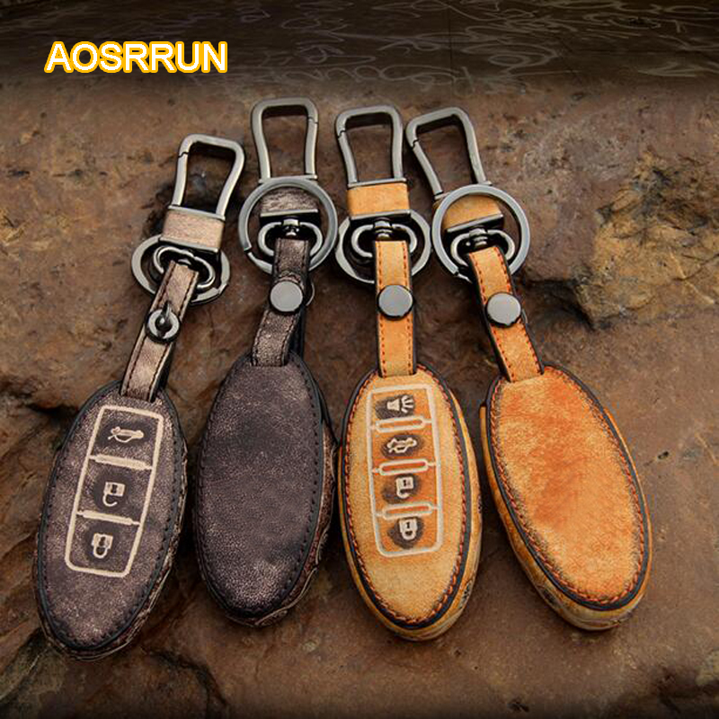 AOSRRUN Leather key bag leather key sleeve key buckle COVER Car accessories For Infiniti Q50 Q50L QX50 QX60 QX70 QX80 ESQ FX