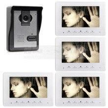 DIYSECUR 800×480 de 7 pulgadas Teléfono Video de La Puerta de Intercomunicación de Vídeo Timbre de la Puerta 1 Cámara de 4 Monitores para el Hogar/Oficina Sistema de Seguridad Blanco