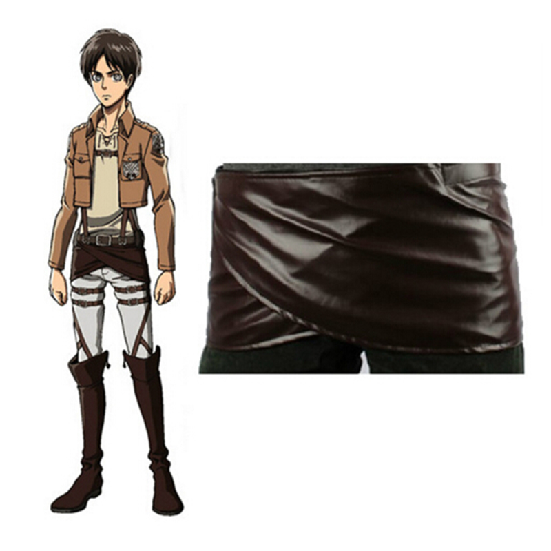 Anime Cosplay Attack on Titan Shingeki no Kyojin Leather Skirt Hookshot Belt Costume Women Chocolate PU Leather Apron Belt Skirt