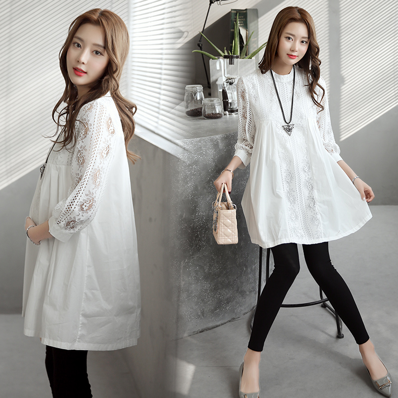 acc4f952644 High Quality Office Lady Shirt Dress for Pregnant Women 2017 Autumn Formal  Maternity Clothes White Lace Pregnancy Clothing-in Dresses from Mother    Kids on ...