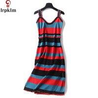 2017 Summer Women New Striped Cute Dress Hit Color Pullovers Knitted Split Hem Sundress Female Summer