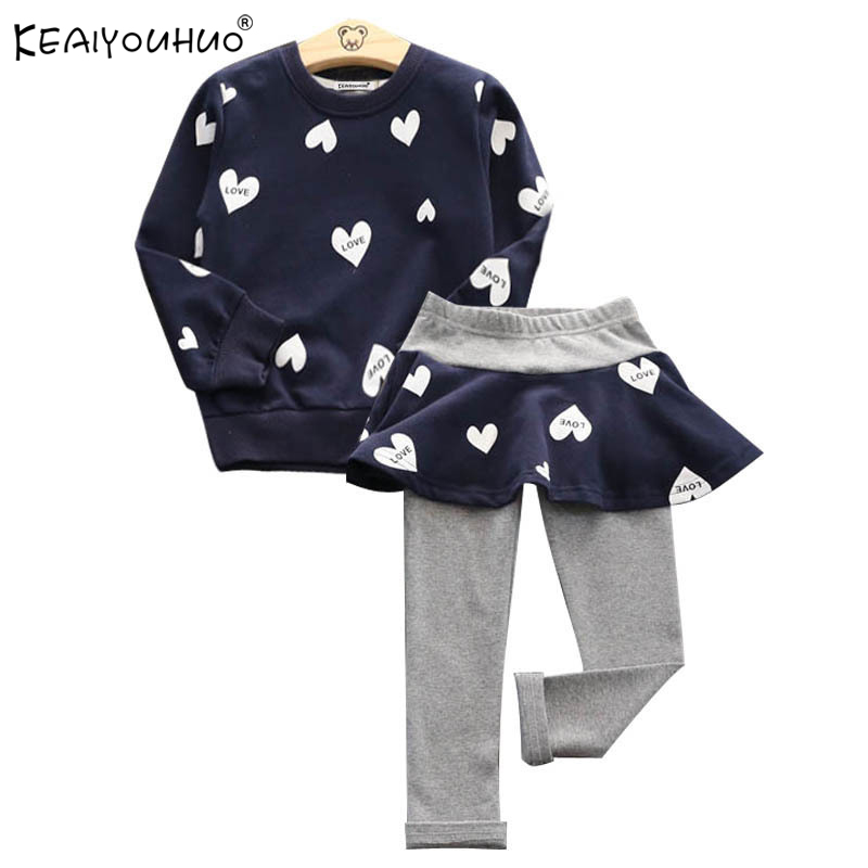 KEAIYOUHUO Girls Clothes Suits Spring Anutmn Children Clothing Sets 2Pcs Cotton Girls Sport Suits Long Sleeve Kids Clothes Sets lovely spring new year cotton long sleeves baby kids children suits boys pajamas christmas girls clothing sets clothes