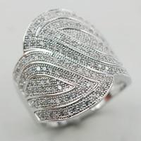 Micropave Белый Кристалл Циркон 925 Серебряное кольцо Размеры 6 7 8 9 10 11 A07