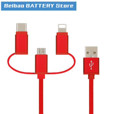 Trinity Data Line For Apple Android TYPE-C Lexus Trinity Braided Data Line 3 In 1 USB Cable Line Fase Charging