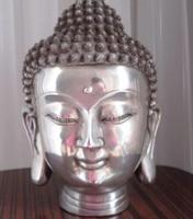 Тибетское серебро buddhis Шакьямуни бронза голова статуи Будды