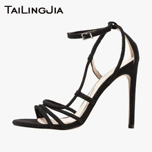купить Ankle Strap Open Toe High Heel Sexy Women Shoes Woman Sandals Red Brand Black Pu Buckle Party Shoes Fashion Plus Size Handmade дешево