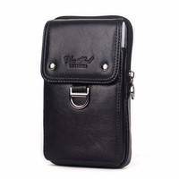 Men Genuine Leather Waist Pack Zipper Wallet Cell/Mobile Phone Pocket Cigarette Case Bag Cross Body Male Fanny Money Bags
